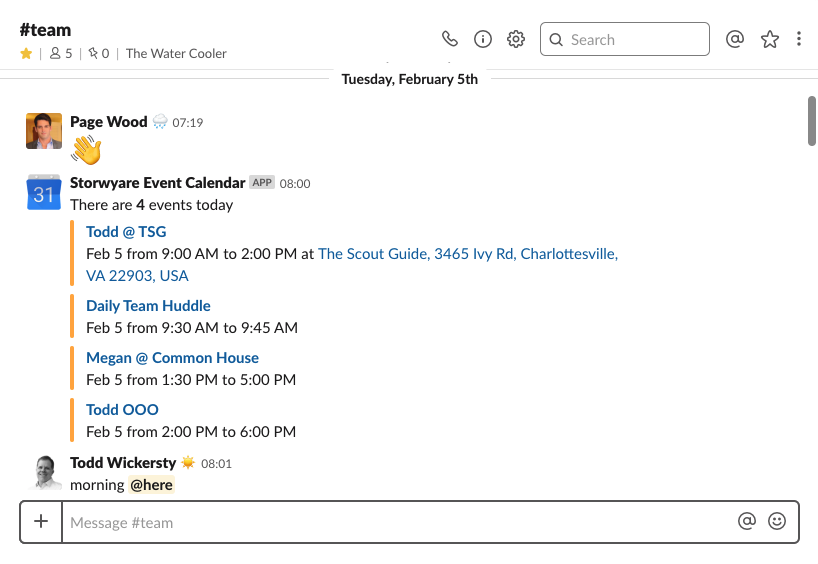 Google Calendar + Slack